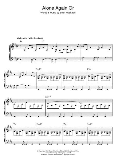 Alone Again Sheet Music To Download And Print World Center Of