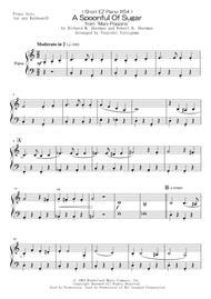 "Richard M. Sherman  Sheet Music < Short EZ Piano #54 > A Spoonful Of Sugar from ""Mary Poppins"" Song Lyrics Guitar Tabs Piano Music Notes Songbook"