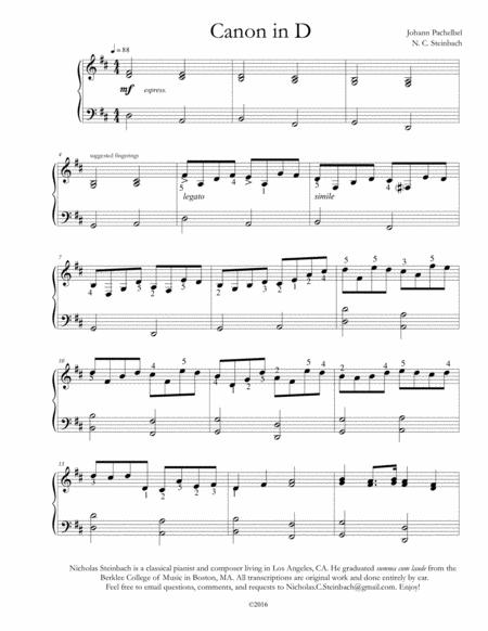 Download Digital Sheet Music Of Canon In D For Piano Solo
