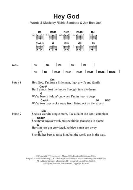 Download Digital Sheet Music Of Bon Jovi For Lyrics And Chords