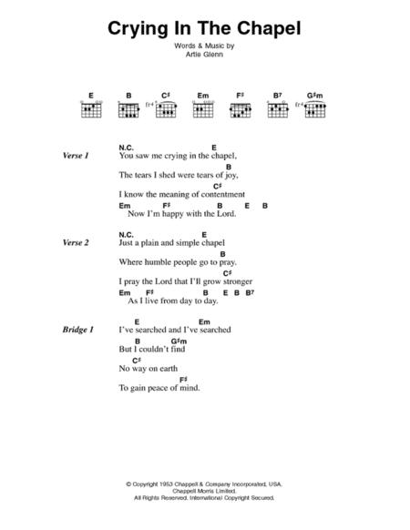 Download Digital Sheet Music Of Elvis Presley For Lyrics And Chords