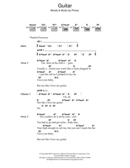 Download Digital Sheet Music of Prince Prince for Lyrics and Chords