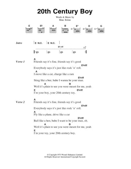 Download Digital Sheet Music of T.Rex for Lyrics and Chords