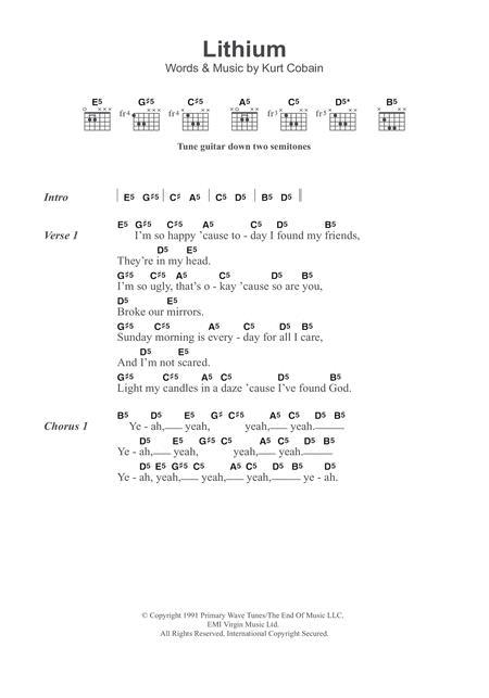 Download Digital Sheet Music of Nirvana for Lyrics and Chords