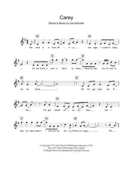 Joni Mitchell Sheet Music To Download And Print World Center Of