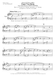 Julie Andrews  Sheet Music < Short EZ Piano #89 > Feed The Birds from Walt Disney's MARY POPPINS Song Lyrics Guitar Tabs Piano Music Notes Songbook