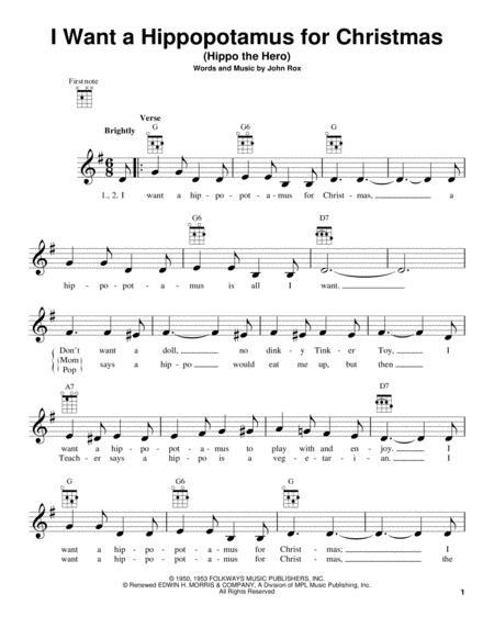 I Want A Hippopotamus For Christmas Sheet Music.Download Digital Sheet Music Of Christmas For Ukulele
