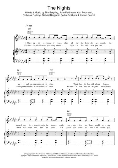 Download Digital Sheet Music of Avicii for Piano, Vocal and Guitar
