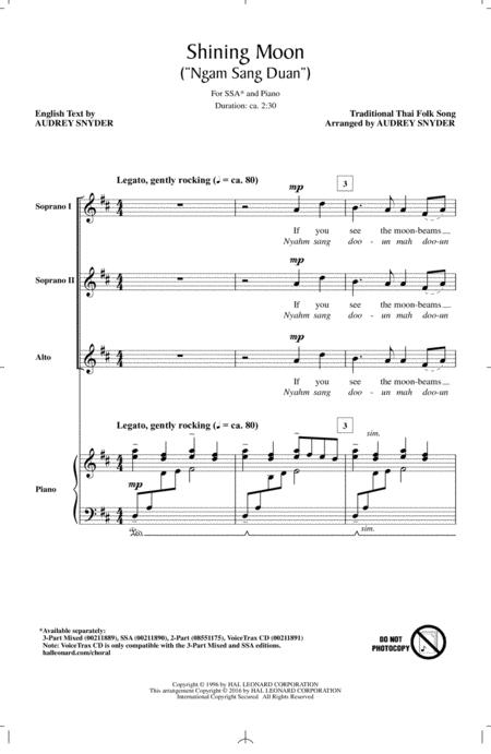 MOON IS SHINING sheet music to download and print - World