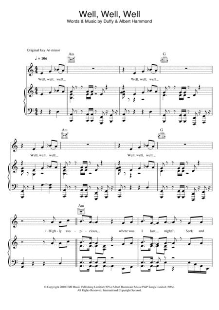 Download Digital Sheet Music of duffy for Piano, Vocal and Guitar