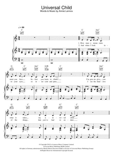 Annie Lennox sheet music to download and print - World center of ...
