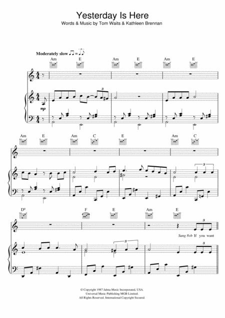Tom Waits Sheet Music To Download And Print World Center Of