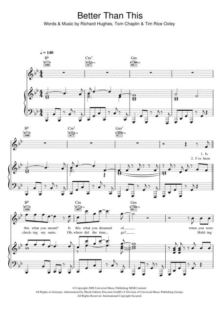 Download Digital Sheet Music of keane for Piano, Vocal and Guitar