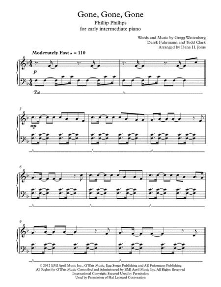 Download Digital Sheet Music of Phillip Phillips for Piano solo