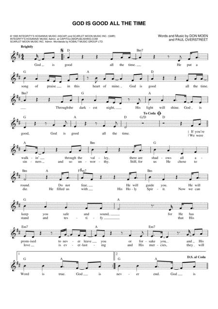 Download don moen digital sheet music and tabs - Download god is good all the time ...