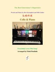 """Nat """"King"""" Cole  Sheet Music """"L-O-V-E"""" for Cello and Piano Song Lyrics Guitar Tabs Piano Music Notes Songbook"""