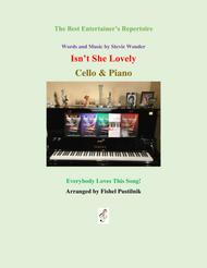 """Stevie Wonder  Sheet Music """"Isn't She Lovely"""" for Cello and Piano Song Lyrics Guitar Tabs Piano Music Notes Songbook"""