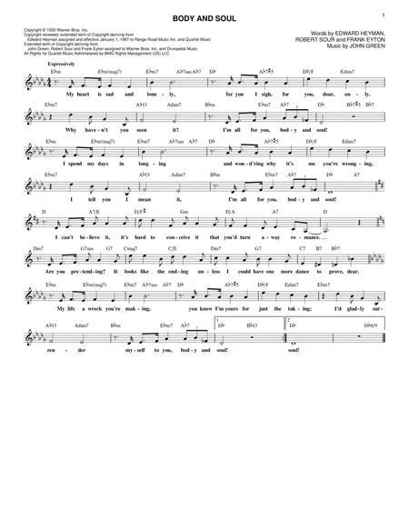 body and soul piano sheet music pdf