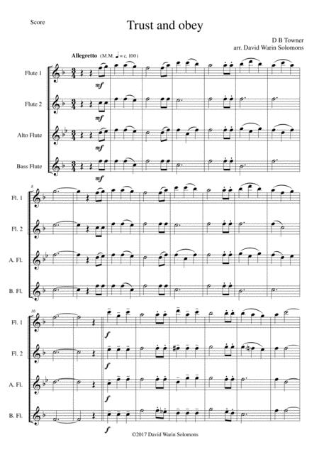 trust and obey sheet music to download and print - World center of