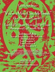 """Albert Hague  Sheet Music """"You're A Mean One, Mr. Grinch"""" (for Saxophone Quintet SATTB or AATTB) Song Lyrics Guitar Tabs Piano Music Notes Songbook"""