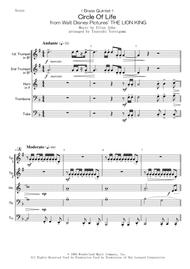 Elton John  Sheet Music < Brass Quintet > Circle Of Life from Walt Disney Pictures' THE LION KING Song Lyrics Guitar Tabs Piano Music Notes Songbook