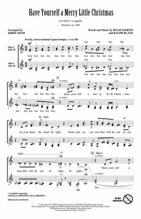 Have Yourself A Merry Little Christmas Piano Accompaniment.Sheet Music Have Yourself A Merry Little Christmas Ssaa A