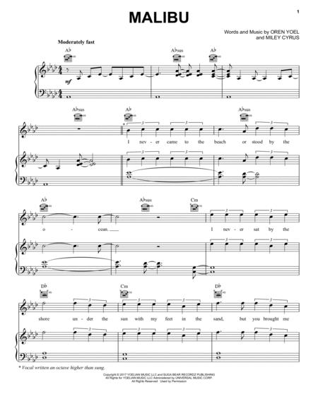 Miley Cyrus Sheet Music To Download And Print World Center Of