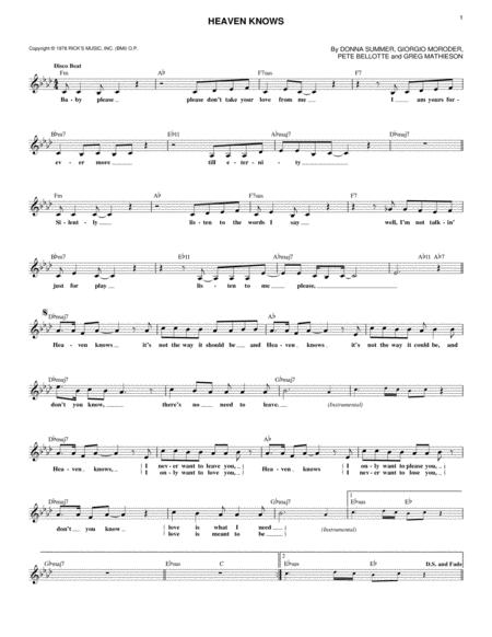 Donna Summer sheet music to download and print - World