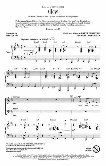 Sheet music: Glow (Choral CD)