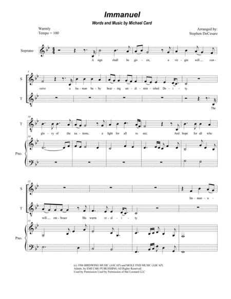 immanuel michael card sheet music pdf