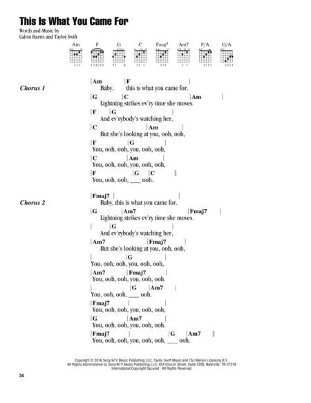 Download Digital Sheet Music Of Calvin Harris For Lyrics And Chords
