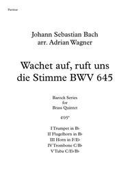 "Johann Sebastian Bach  Sheet Music ""Wachet auf, ruft uns die Stimme BWV 645"" (Brass Quintet) arr. Adrian Wagner Song Lyrics Guitar Tabs Piano Music Notes Songbook"