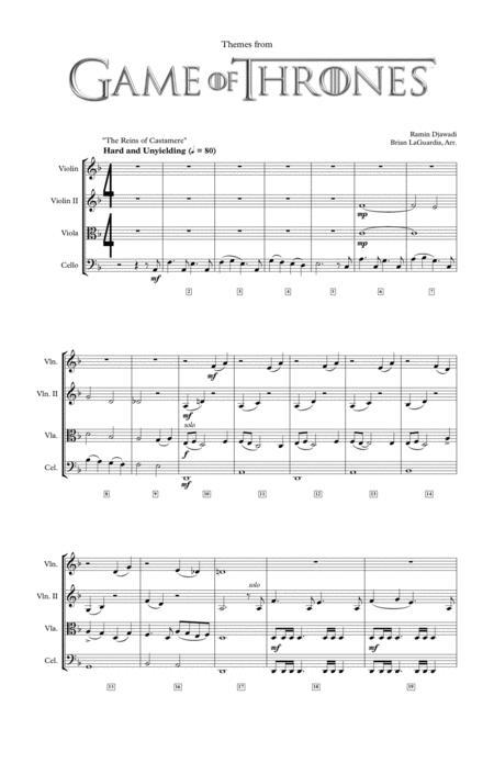 Download Digital Sheet Music Of Ramin Djawadi For String Quartet 2 Violins Viola Cello