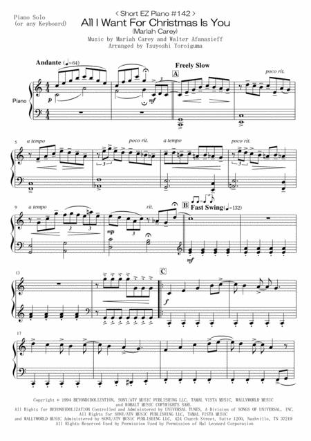 All I Want For Christmas Is You Sheet Music Pdf.Download Digital Sheet Music Of Mariah Carey For Piano Solo