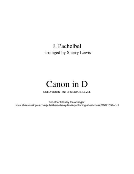 Download Digital Sheet Music of Canon in D Violin for Violin