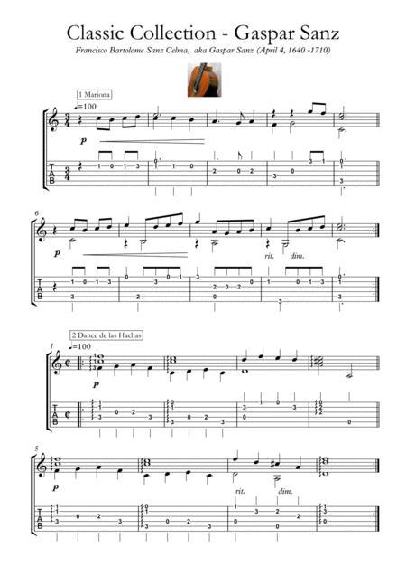Suite Espanola Guitar Sheet Music Instrumental Work Gaspar Sanz