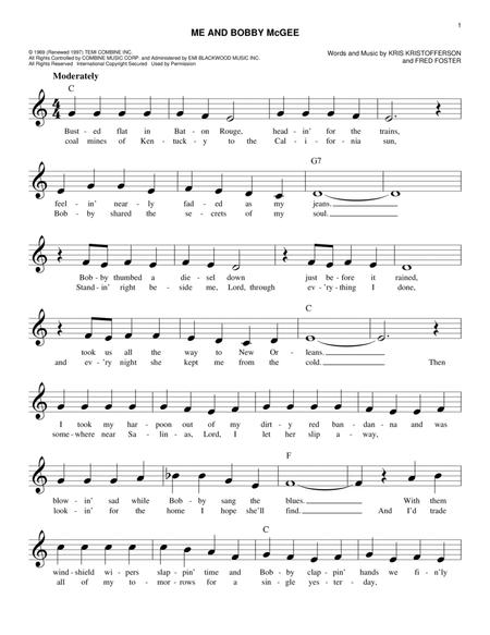 Kris Kristofferson sheet music to download and print - World center