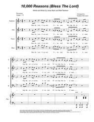 Matt Redman  Sheet Music 10,000 Reasons (Bless The Lord) (for Vocal Quartet - SATB) Song Lyrics Guitar Tabs Piano Music Notes Songbook
