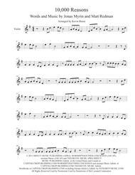Matt Redman  Sheet Music 10,000 Reasons (Original key) - Violin Song Lyrics Guitar Tabs Piano Music Notes Songbook
