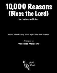 Matt Redman  Sheet Music 10,000 Reasons (Bless The Lord) (Intermediate Piano) Song Lyrics Guitar Tabs Piano Music Notes Songbook