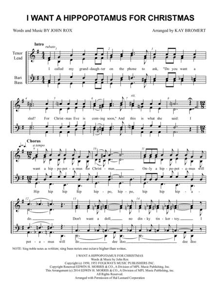 I Want A Hippopotamus For Christmas Sheet Music Free Pdf.John Rox Sheet Music To Download And Print World Center Of