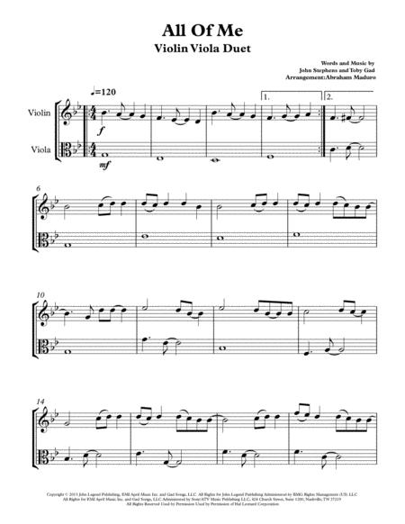 Download Digital Sheet Music for Violin, Viola (duet)