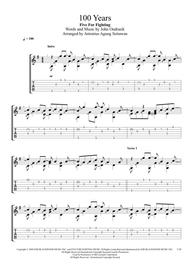 Five for Fighting  Sheet Music 100 Years (Solo Guitar Tablature) Song Lyrics Guitar Tabs Piano Music Notes Songbook