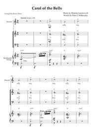 "Peter J. Wilhousky, Mykola Leontovych  Sheet Music ""Carol Of The Bells"" - SAB choir with descant, keyboard, violin, sleigh bells Song Lyrics Guitar Tabs Piano Music Notes Songbook"