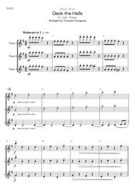 John Thomas  Sheet Music <Flute Trio> Deck the Halls Song Lyrics Guitar Tabs Piano Music Notes Songbook