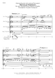 Tsuyoshi Yoroiguma  Sheet Music <Clarinet Quartet with optional Percussion> Baroque Hoedown Song Lyrics Guitar Tabs Piano Music Notes Songbook