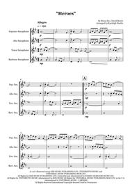"""David Bowie  Sheet Music """"Heroes"""" by David Bowie - Saxophone quartet (SATB) Song Lyrics Guitar Tabs Piano Music Notes Songbook"""