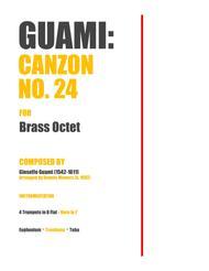 "Gioseffo Guami  Sheet Music ""Canzon No. 24"" for Brass Octet - Gioseffo Guami Song Lyrics Guitar Tabs Piano Music Notes Songbook"