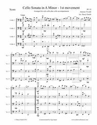 Antonio Vivaldi  Sheet Music ?Vivaldi Cello Sonata in A Minor, all four movements, arranged for solo cello plus three cello accompaniment Song Lyrics Guitar Tabs Piano Music Notes Songbook
