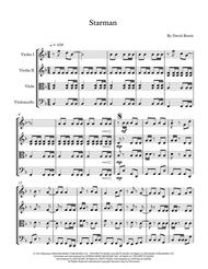 """David Bowie  Sheet Music """"Starman"""" David Bowie - String Quartet, Trio, Duo or Solo Violin Song Lyrics Guitar Tabs Piano Music Notes Songbook"""